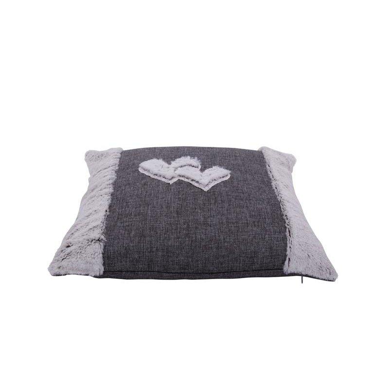 kissenh lle leinenoptik grau mit pl sch herz veredelt kissenbezug zierkissen deko kissen 1228. Black Bedroom Furniture Sets. Home Design Ideas