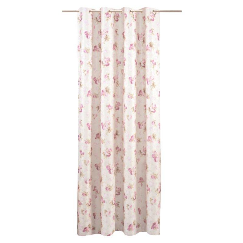 Vorhang Blickdicht Lichtdurchlässig jacquard übergardine mit ösen rosenmuster damast blumen 140x245 cm