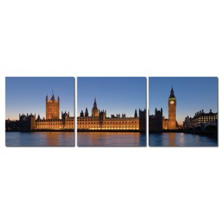Bild 3er Set London Palace of Westminster Big Ben Holzfaserplatte Fotodruck Wandbild 3 mal 50x50 cm #2055