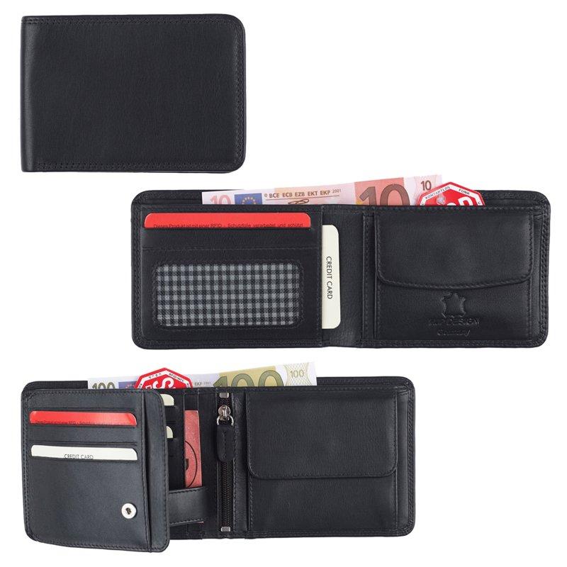 775aae7db20e2 Herren Portemonnaie Ledergeldbörse mit RFID Schutz Scheinbörse Querfo