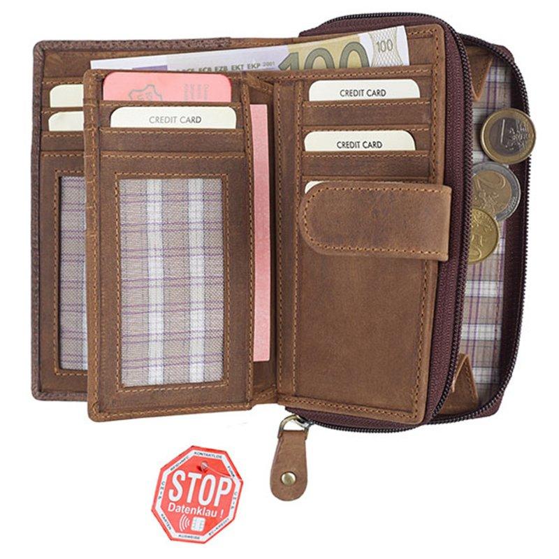 77c0ba4a782fe Damen Portemonnaie Ledergeldbörse mit RFID Schutz Langbörse 4 Leder ...