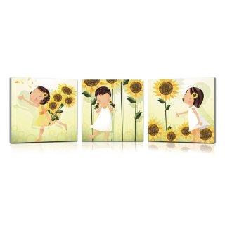 wandbild 3er set sonnenblume blumen kinder illustrationen kunstdruck 39 90. Black Bedroom Furniture Sets. Home Design Ideas