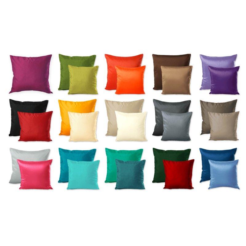 kissenh lle wildseide optik uni kissenbezug zierkissen deko kissen in 7 gr en und vielen farben. Black Bedroom Furniture Sets. Home Design Ideas