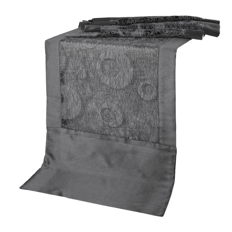 tischl ufer rechteckig grau silber schimmernd tischband modern ca 40 14 95. Black Bedroom Furniture Sets. Home Design Ideas