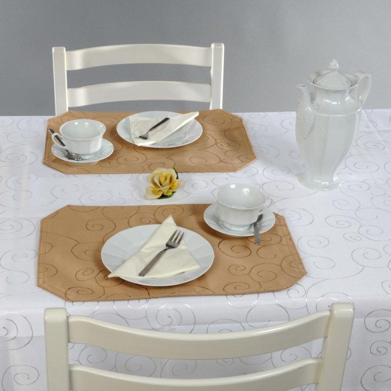 platzset damast circle braun hell 2er set 30x45 haus und. Black Bedroom Furniture Sets. Home Design Ideas