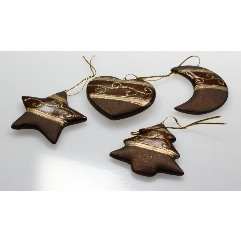 baum schmuck weihnachtsbaum auf nger ton braun mit glitzer. Black Bedroom Furniture Sets. Home Design Ideas