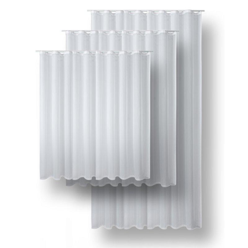 voile dekoschal edel streifen gardine leicht und luftig vorhang wei 28 95. Black Bedroom Furniture Sets. Home Design Ideas