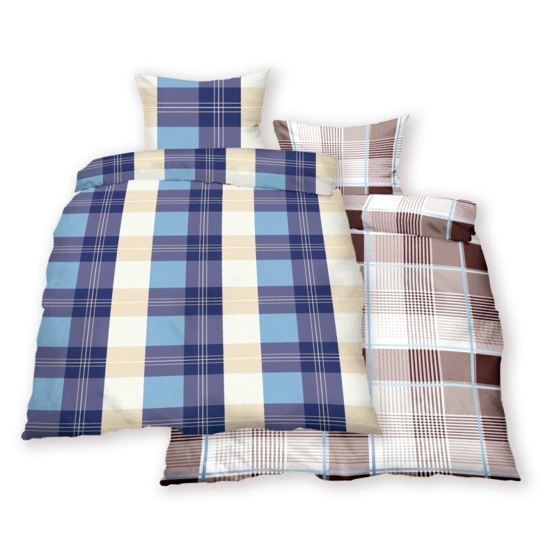bettw sche renforce 2 tlg garnitur karo 135x200 80x80 cm. Black Bedroom Furniture Sets. Home Design Ideas