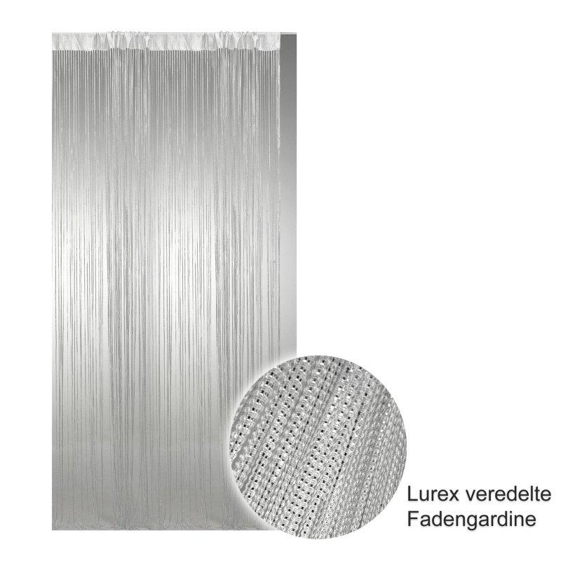 fadenvorhang wei mit lurex veredelt stangendurchzug 300x250 cm 1485 haus und deko 28 95. Black Bedroom Furniture Sets. Home Design Ideas