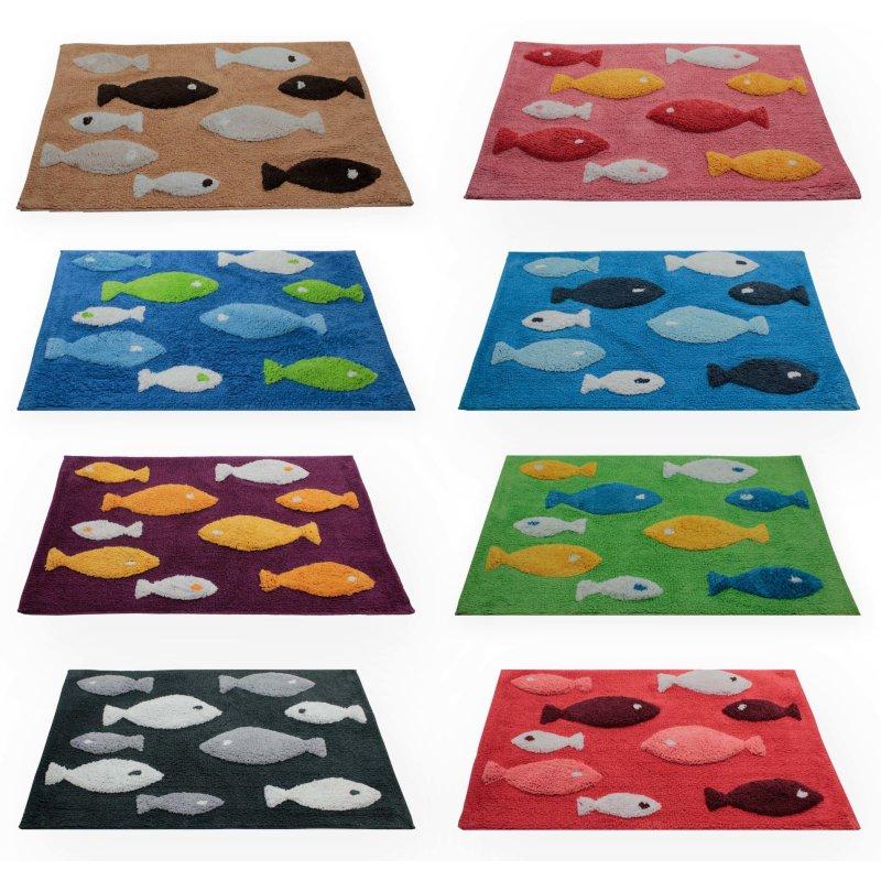 Badezimmer Teppich eckig Fisch Duschvorleger Badematte