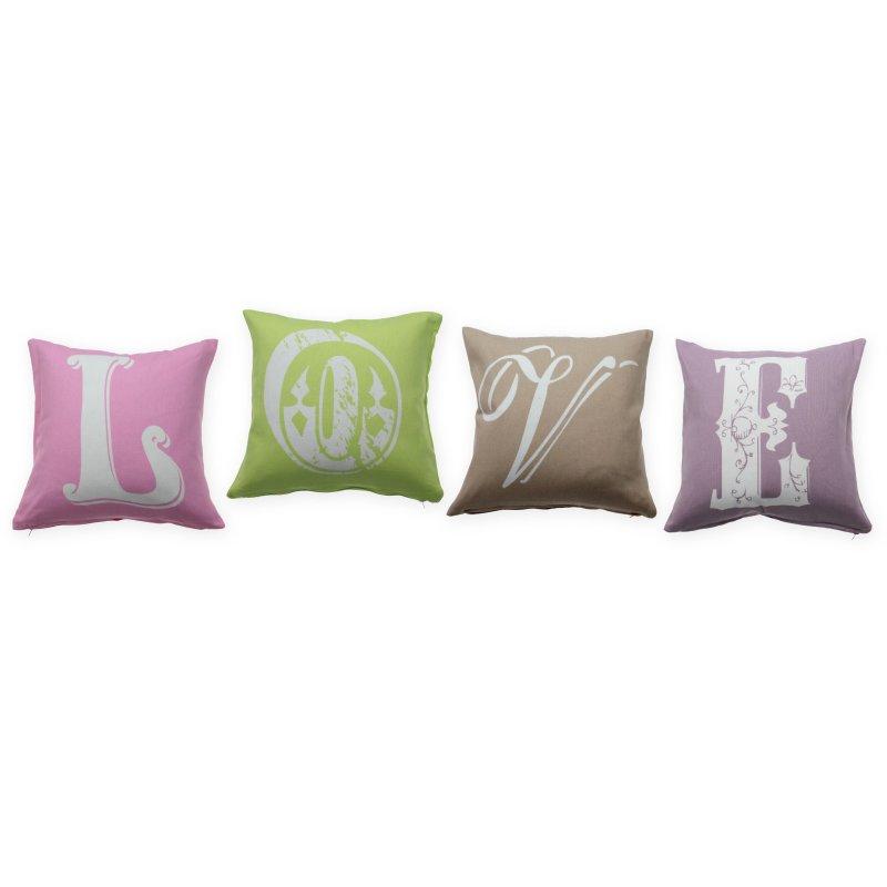 kissenh lle 4er set love 40x40 kissenbezug vintage deko kissen zierki 14 95. Black Bedroom Furniture Sets. Home Design Ideas