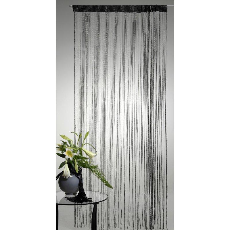 fadenvorhang fadengardine schwarz mit lurex 140x250 cm haus und deko 14 95. Black Bedroom Furniture Sets. Home Design Ideas