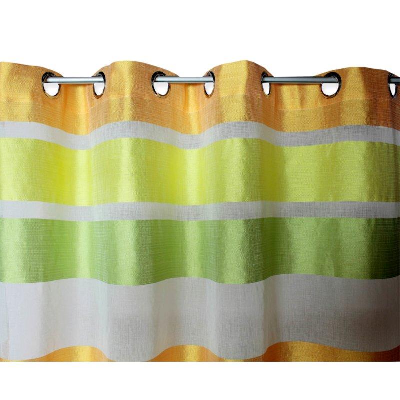 geschossene voile gardine mit sen 140x245 streifen quer in 3 farben 14 95. Black Bedroom Furniture Sets. Home Design Ideas