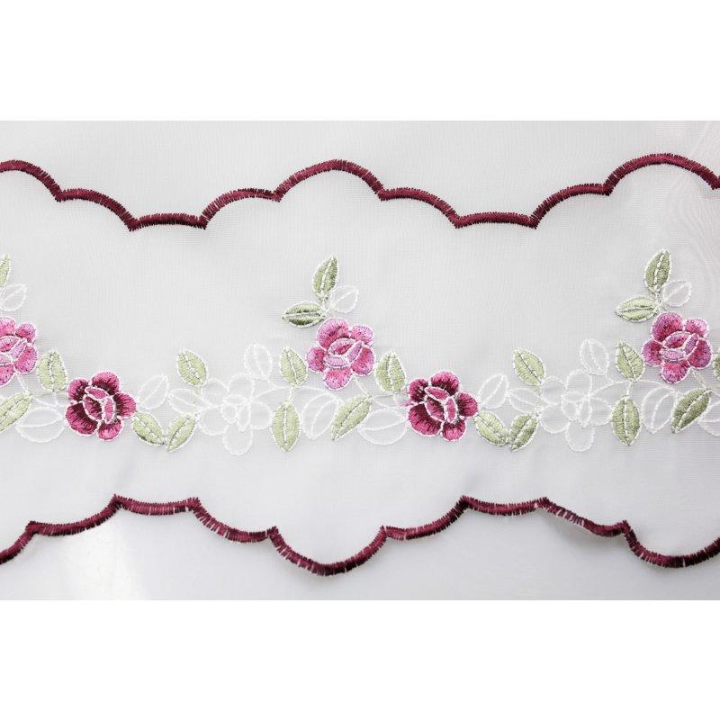 bistrogardine ca 155x45 cm mit rosen voile 1740 haus. Black Bedroom Furniture Sets. Home Design Ideas