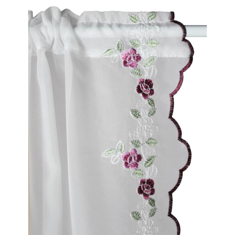 gardinenset 4 tlg stickerei wilde rosen 2x cm. Black Bedroom Furniture Sets. Home Design Ideas