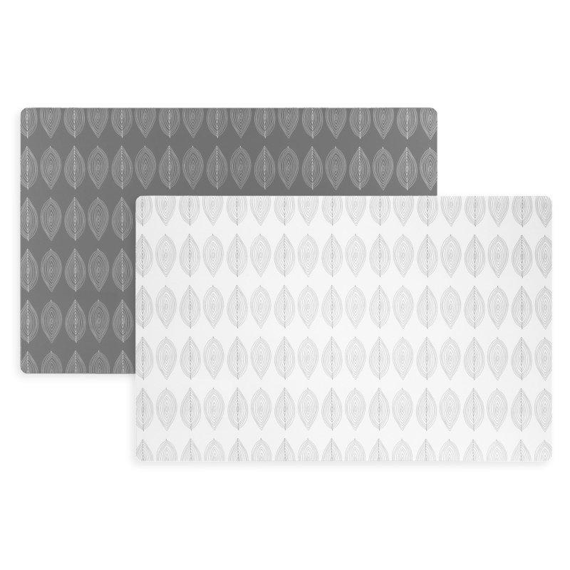 bl tter design platzset kunststoff abwaschbar tischset zweifarbig grau wei 1854 haus deko. Black Bedroom Furniture Sets. Home Design Ideas