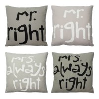 Kissenbezug 45x45 cm grau / taupe Mr. & Mrs. Right...