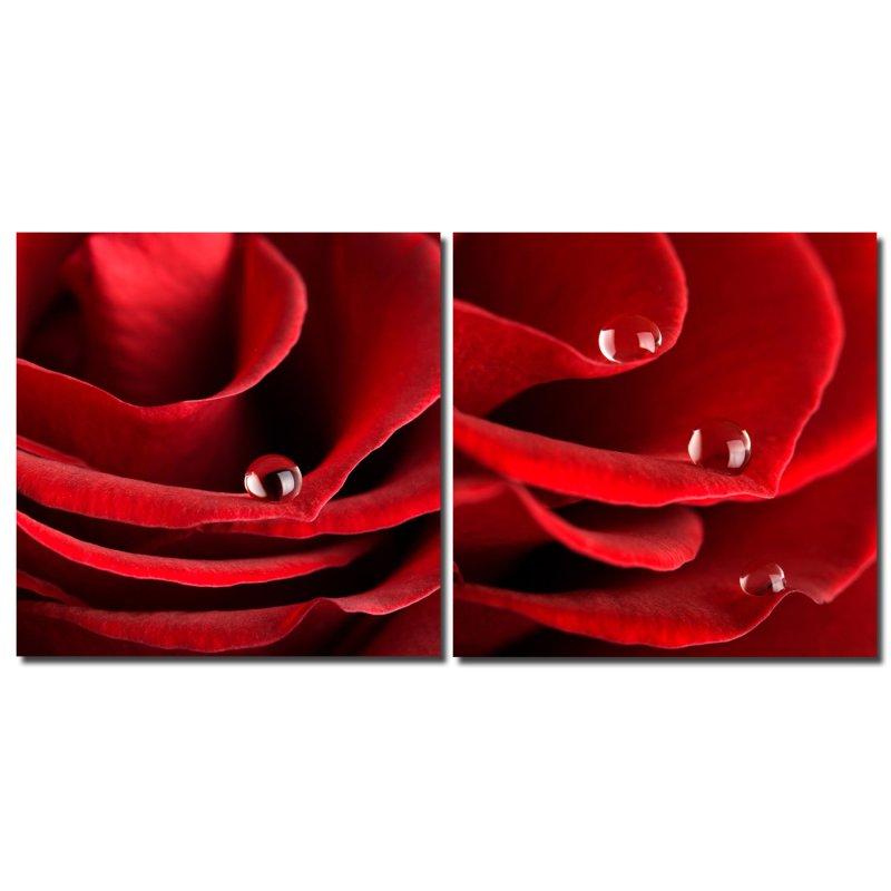 bild blume rot tropfen holzfaserplatte fotodruck wandbild 2er set einfache montage haus und. Black Bedroom Furniture Sets. Home Design Ideas