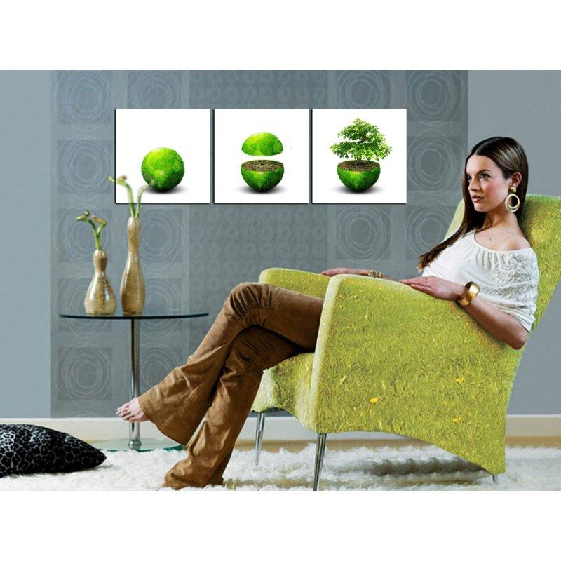 wandbild 3er set kunstdruck gr ne erde bilder auf holzfasertafeln ein 24 90. Black Bedroom Furniture Sets. Home Design Ideas
