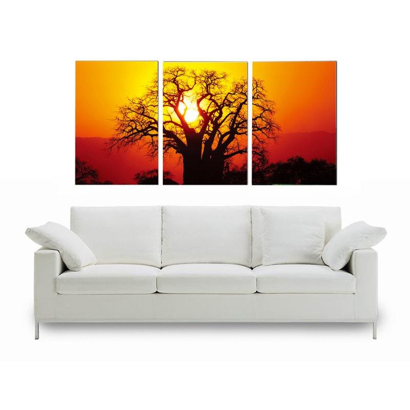 wandbild 3er set fotodruck baum in abendsonne bilder auf holzfasertaf 119 90. Black Bedroom Furniture Sets. Home Design Ideas