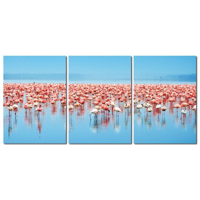 wandbild 3er set fotodruck rosa flamingos auf holzfasertafeln je 50 x 119 90. Black Bedroom Furniture Sets. Home Design Ideas