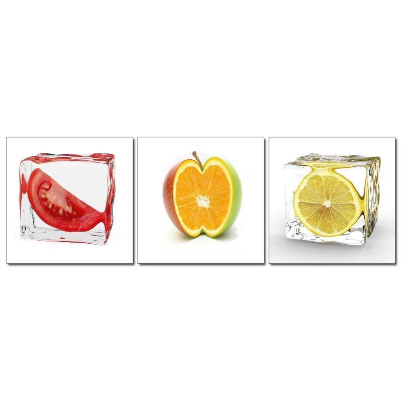 wandbild 3er set fotodruck obst in eis kunstdruck bilder auf holzfase 24 90. Black Bedroom Furniture Sets. Home Design Ideas
