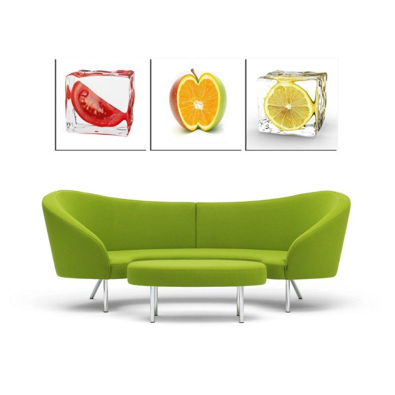 wandbild 3er set fotodruck obst in eis kunstdruck bilder auf holzfase 59 90. Black Bedroom Furniture Sets. Home Design Ideas