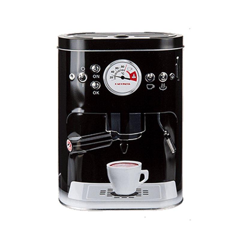 kaffeedose nostalgie metalldose dose mit aufwendiger pr gung espressomaschine schwarz haus. Black Bedroom Furniture Sets. Home Design Ideas