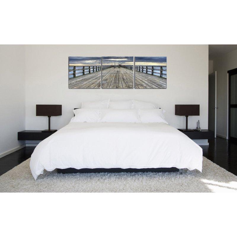 wandbild 3er set seebr cke wolkenhimmel fotografie kunstdruck bilder 39 90. Black Bedroom Furniture Sets. Home Design Ideas