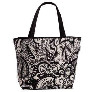 tasche florales design schwarz wei sommertasche strandtasche einkauf 23 95. Black Bedroom Furniture Sets. Home Design Ideas